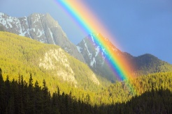 Rainbow in Banff National Park, Alberta, Canada. Photo by John E. Marriott.