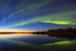 Aurora Borealis, Ennadai Lake, Nunavut, Canada. Photo by John E. Marriott