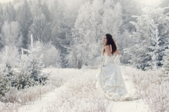 Wedding image photographed in hoar frost. Model: Stephanie. Photo by Viktoria Haack Photography.